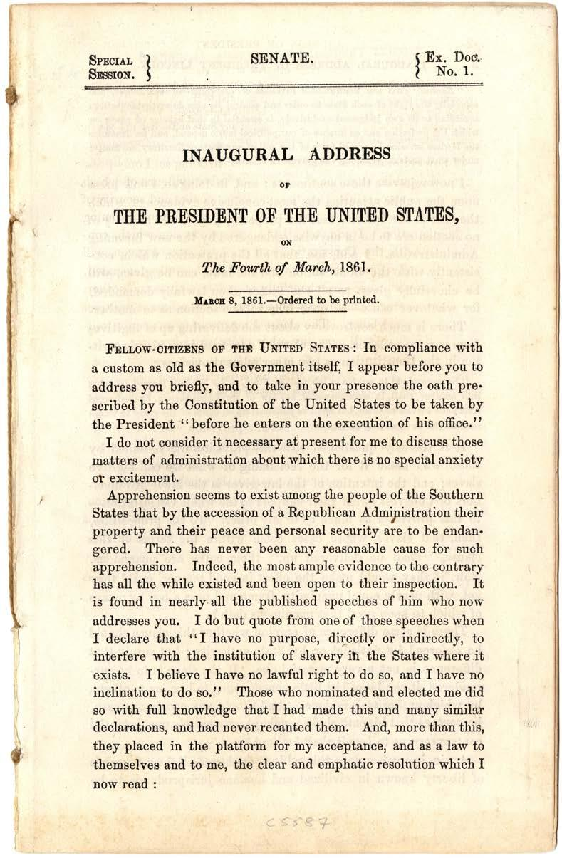 2 Image Abraham Lincoln, First Inaugural Address,