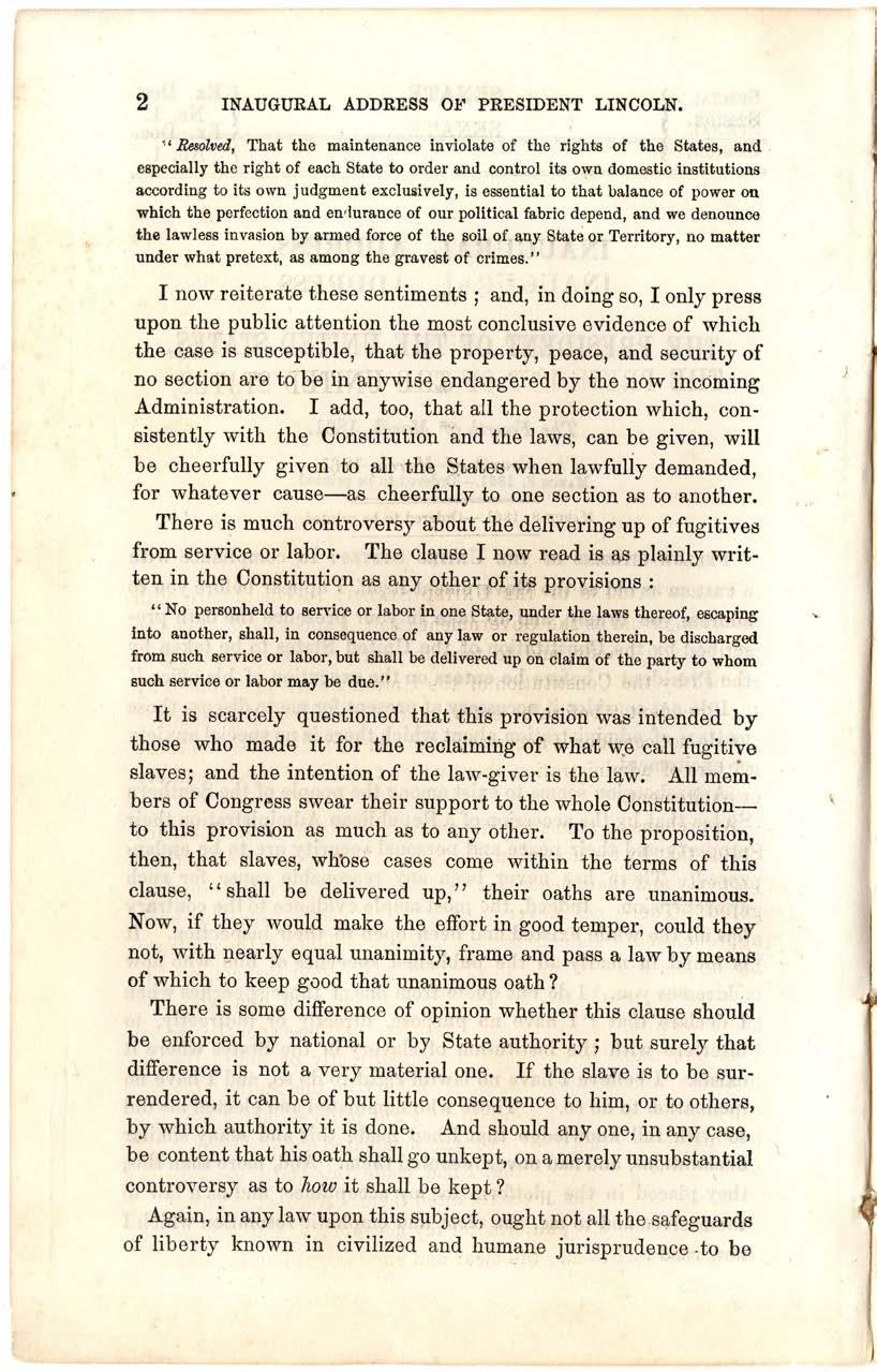 3 Abraham Lincoln, First Inaugural Address, March