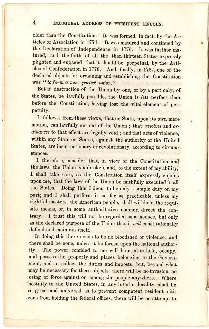 5 Abraham Lincoln, First Inaugural Address, March