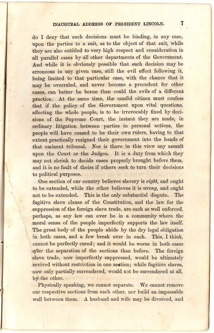 8 Abraham Lincoln, First Inaugural Address, March
