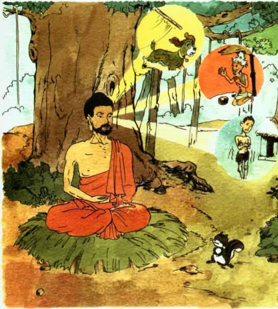 At last, he sat under a huge Bodhi Tree.