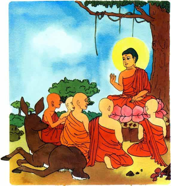 The Buddha first told his ideas to five monks, There are problems in all our lives.