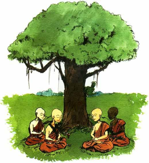 The Sangha is the third gem for Buddhists. It is a group of monks or nuns. It represents purity.