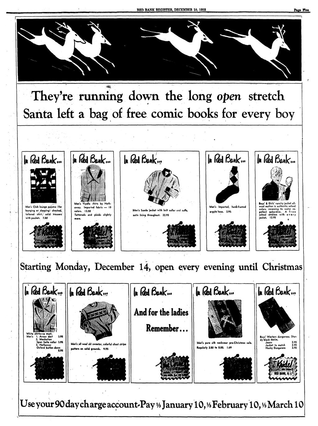 RED BANK REGISTER. DECEMBER 10, 1953 Page five They're running down the