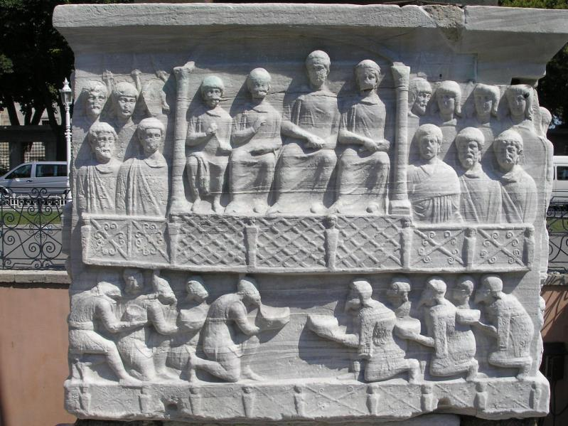 Base of the obelisk from the Hippodrome, featuring Theodosius and his court Source: https://upload.wikimedia.org/wikipedia/commons/f/f6/hippodrome_constantinople_2007_005.jpg 3.