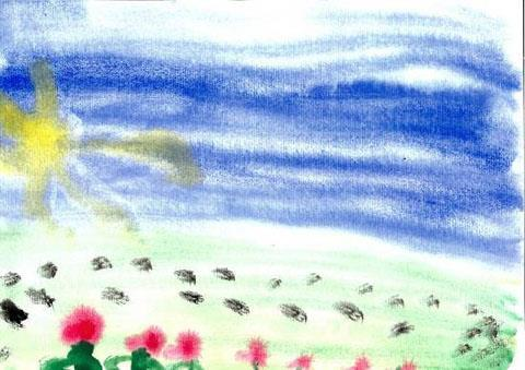19 C2 RE in EYFS: Programme of Study Thomas, age 5. In my picture I have painted the sky and the sun, then I added grass and flowers.