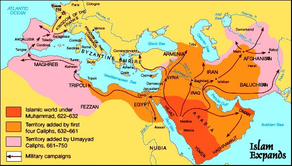 Muslim invaders swept out of Arabia in all directions to expand their faith They crossed the Straits of