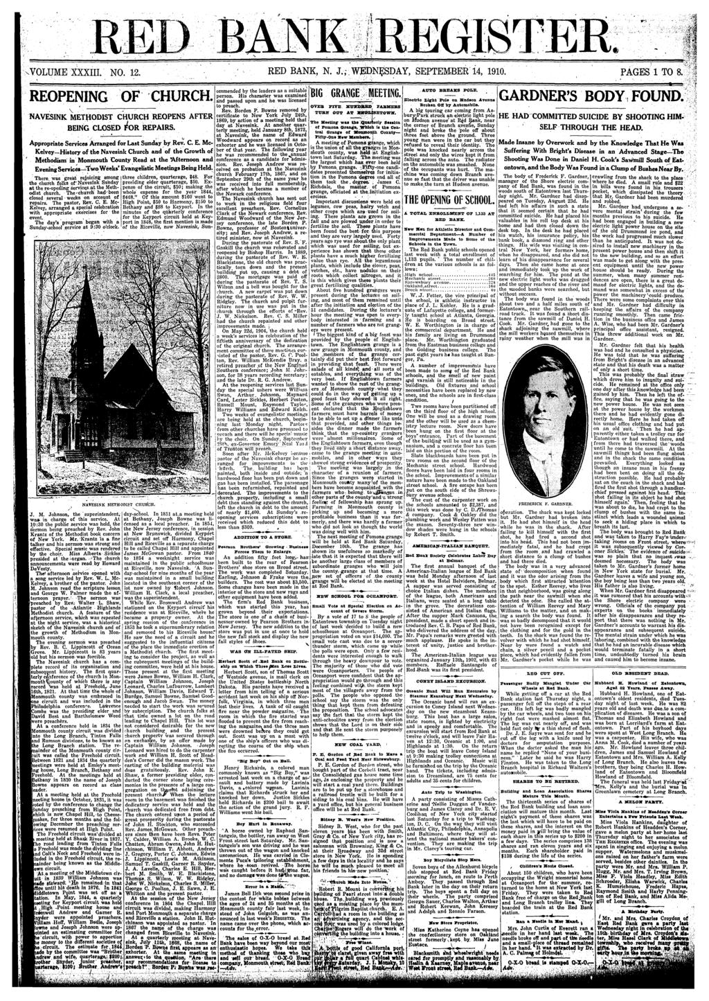 .VOLUME XXXIII. NO. 2. RED BANK, N. J.; WEDNESDAY, SEPTEMBER 4, 90. PAGES TO 8. REOPENING OF CHURCH. V NAVESINK METHODIST CHURCH REOPENS AFTER BEING CLOSED REPAIRS.