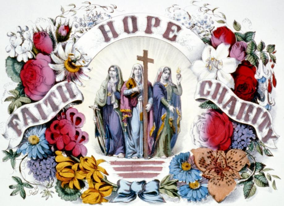 "Theological Virtues Theological is a big word. It means from God. Virtue means ""something good."" The Theological Virtues are something good that comes from God."