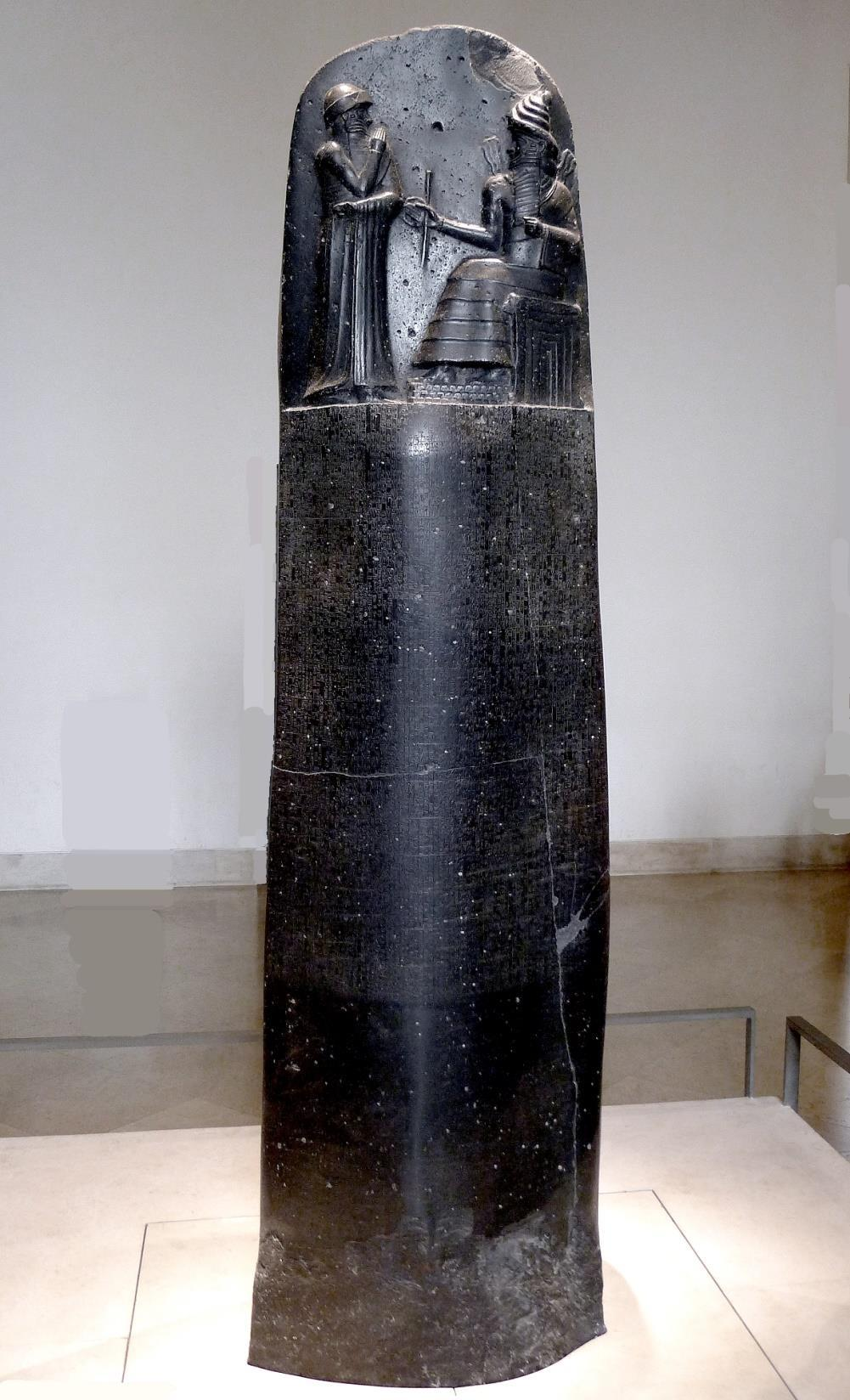 His horned helmet usually was reserved for the gods. The Akkadians adopted the Sumerian style in their stele. One of the most famous stele is Hammurabi s Law Code.