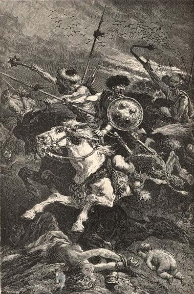 By 410 Visigoths and other Germanic barbarians sacked the