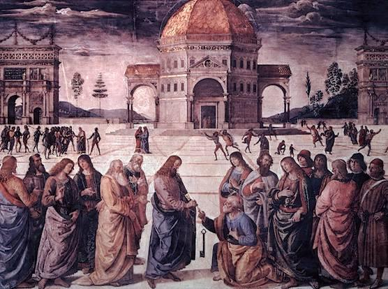 Jesus Christ giving Saint Peter the keys to the kingdom of heaven. Catholic doctrine says that Jesus made Saint Peter the first pope. This established a link between Jesus and the papacy.