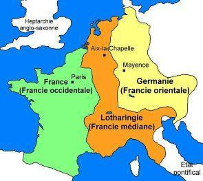 814: Charlemagne died Charlemagne s grandsons fought over the empire 843 = Treaty of Verdun - Heirs divided Carolingian Empire - East (Germany), West