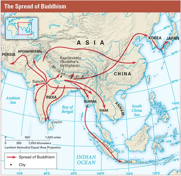 During his reign, King Ashoka worked to spread Buddhist beliefs across the Mauryan Empire and beyond its borders.