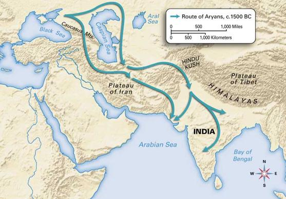 Decline of Indus River Valley Around 1500 BC, nomadic warriors known as the Aryans