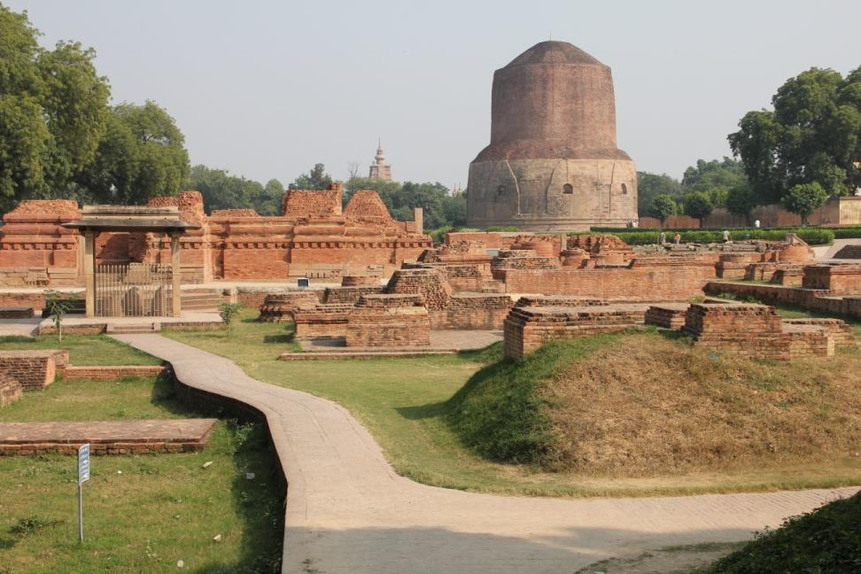 THE DHAMEKHA STUPA : King Ashoka also built the Dhamekha Stupa. The present size of the stupa is 31.3 metre high and 28.3 metre in diameter.