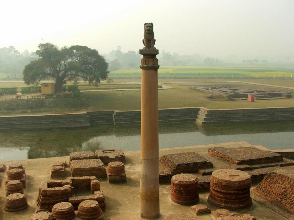 THE ASHOKA PILLER: The Ashoka pillar is extremely important because on top of the pillar there used to be a statue of four lions holding up a wheel, which is national sign of India now.