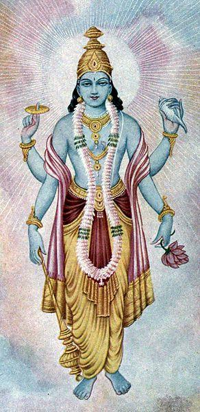 Usually depicted Blue color With four arms.
