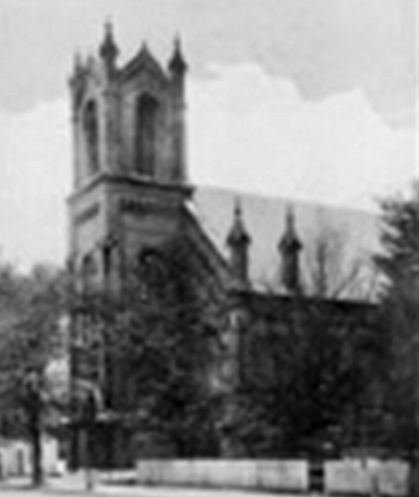 The second Methodist church is shown in the background. The third Methodist church, in the foreground, still stands on Third Street today.