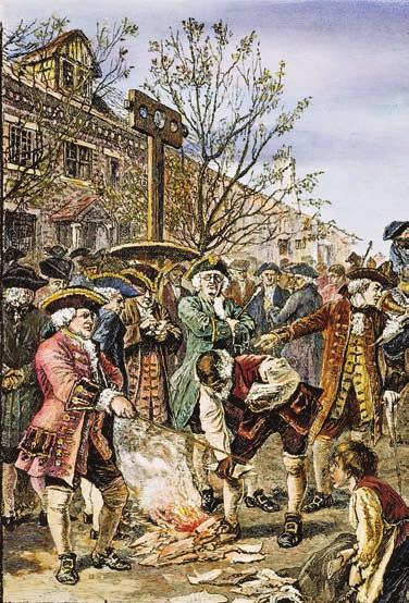 There, he began building his fortune as a merchant. American colonists protested the Stamp Act by burning paper goods.