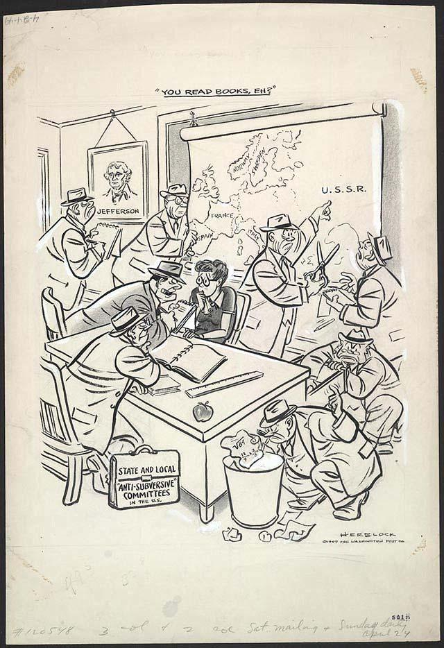 Document 3 You Read Books, Eh? By Herbert Block, April 24, 1949 Washington Post 1. What are the men in the cartoon doing (collectively)? 2. What animal do many of the men look like?