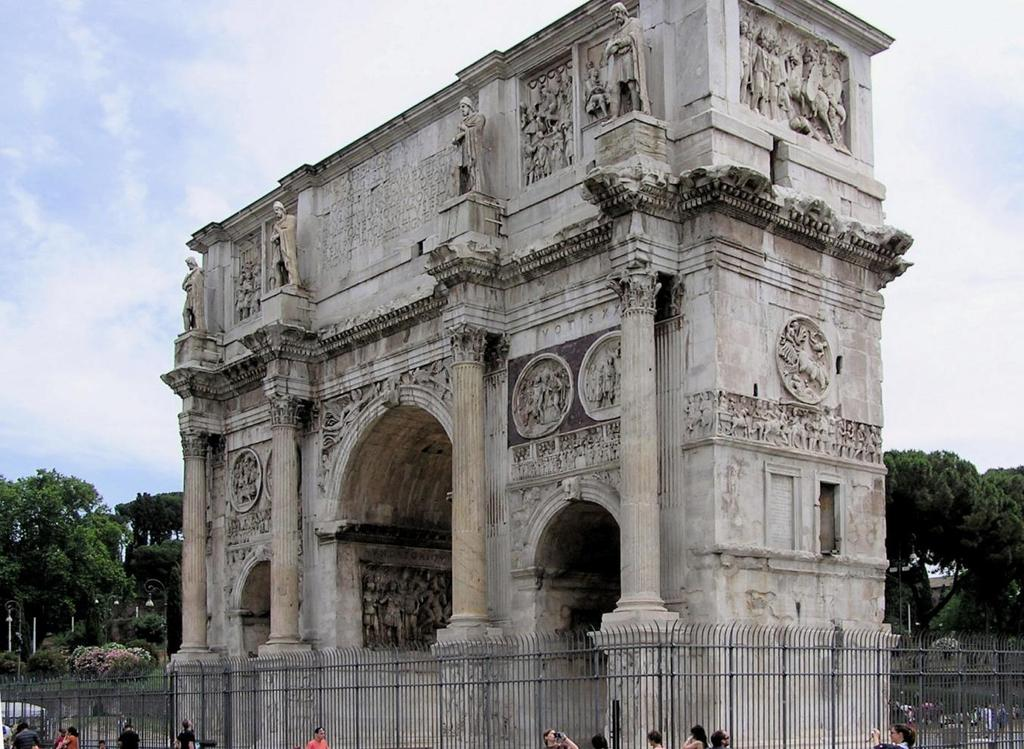 Title: Arch of Constantine Medium: Marble Date: 130-38 CE After years of civil war, the victory of Constantine's army over the numerically superior army of Maxentius at the Battle of Milvian