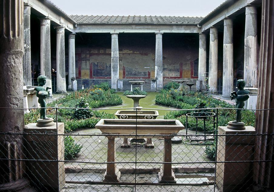 Title: Peristyle Garden, House of The Vettii Date: Rebuilt 62 79 CE Domestic Architecture moved into a