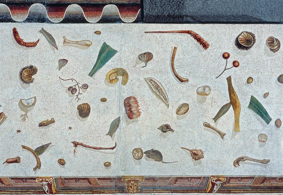 Artist: Herakleitos Title: The Unswept Floor Medium: Mosaic variant of a 2nd-century BCE painting by Sosos of Pergamon Date: 2nd century