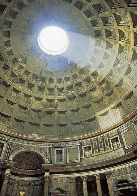 Title: Dome of the Pantheon with light from the oculus on its coffered ceiling Medium: Brick, concrete, marble, veneer Size: diameter of dome 143' (43.