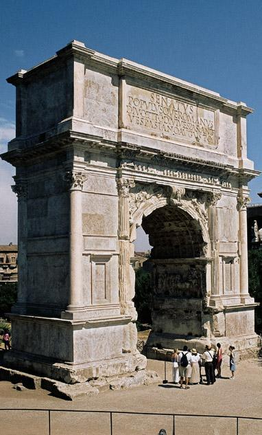 Title: The Arch of Titus Medium: Concrete and white marble Size: height 50' (15 m) Date: c.