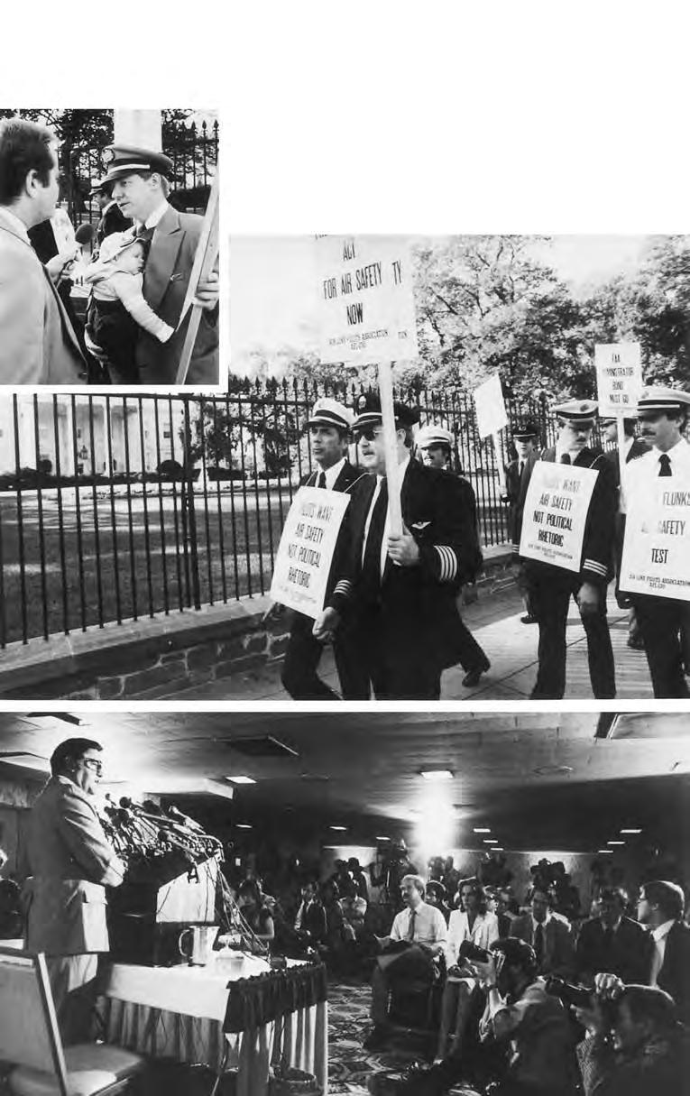 On October 21, 1980, uniformed ALPA pilots from 23 airlines marched on the White House to protest potential safety hazards in the policies of Lanhorne Bond, then FAA administrator.
