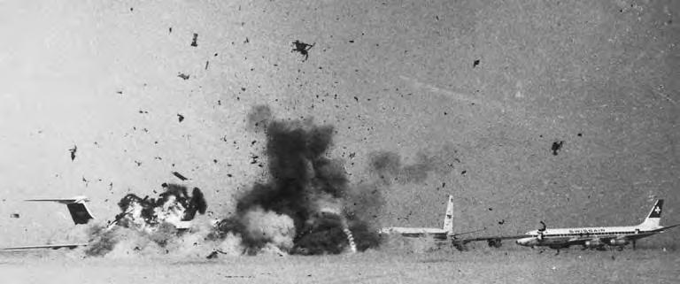 Two years earlier, the Black September movement was born in explosions in the Jordanian desert as Arab terrorists blew up empty hijacked planes, including a BOAC VC-10 (below).
