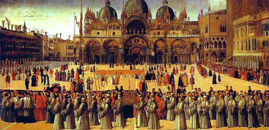 Depiction of Saint Mark s in the Sixteenth Century Procession around the Square of San