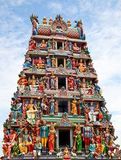 Hinduism is polytheistic, and Hindus worship multiple gods and goddesses. This temple in Singapore i... Hinduism is polytheistic, and Hindus worship multiple gods and goddesses.