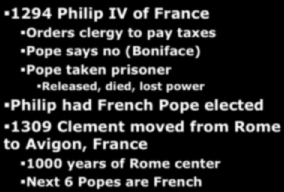 Pope elected 1309 Clement moved from Rome to Avigon, France 1000 years of Rome center