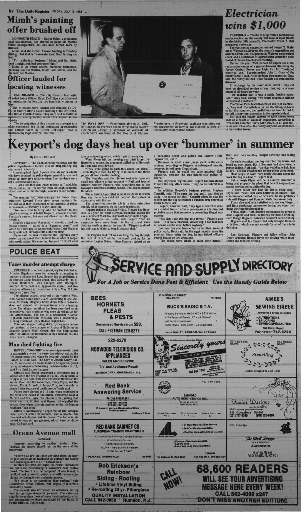 62 The Daily Register FRDAY, JULY is, 963 imh's painting offer brushed off.