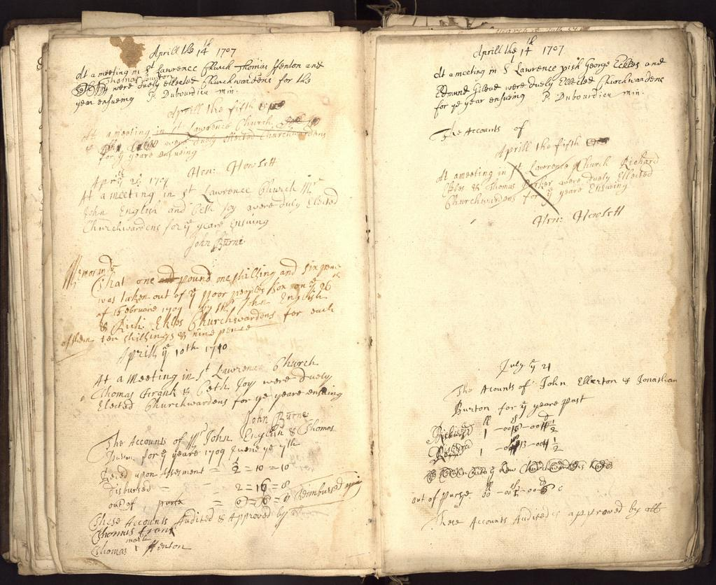 EXAMPLE OF A CHURCHWARDENS ACCOUNT ST LAWRENCE, YORK APRIL 14, 1707 [PR Y/L 23] 1. At a meeting in S t Lawrence Church Thomas Ffenton and 2.
