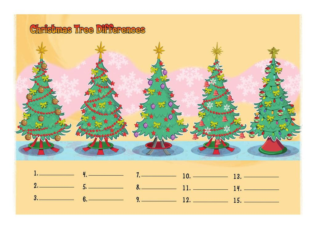 Instructions: Find the differences in the Christmas tree picture.