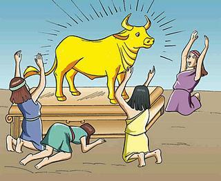 "Aaron melted the earrings and made a golden calf. ""This is the god that brought us from Egypt"" the people shouted. ""We will have a feast tomorrow,"" Aaron promised."