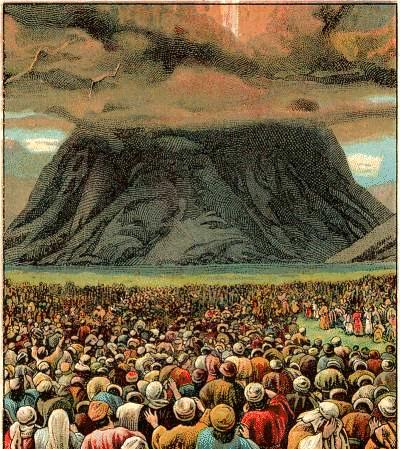 god talks with moses on a Mountain -- exodus 19 The Israelites arrived in the region of Mount Sinai exactly two months after leaving Egypt. They set up camp at the bottom of the mountain.
