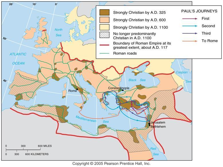 Diffusion of Christianity Christianity diffused from Palestine through the Roman Empire and continued