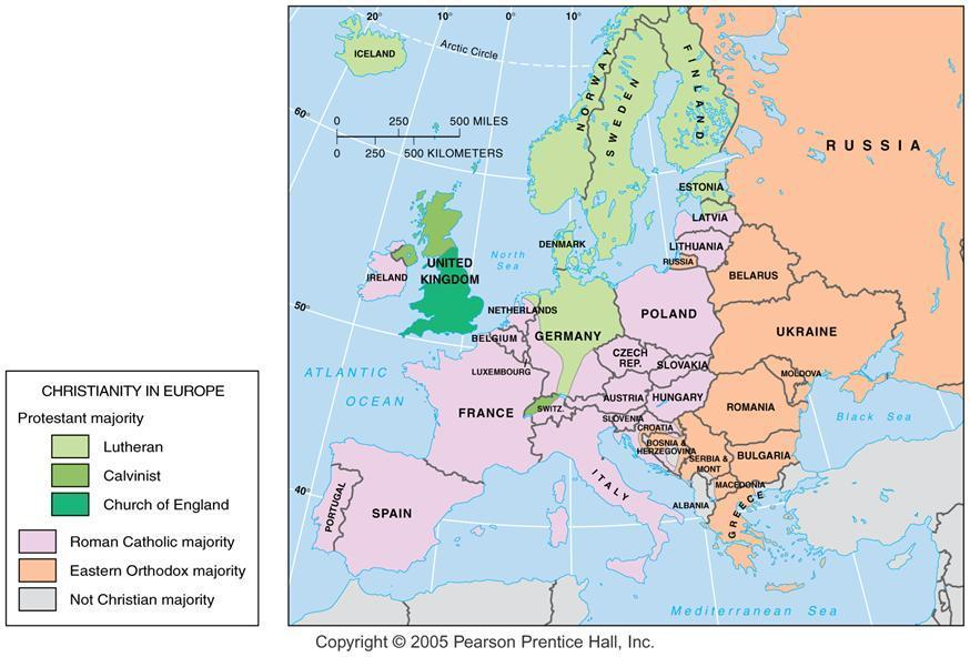 Christian Branches in Europe Protestant denominations, Catholicism, and Eastern