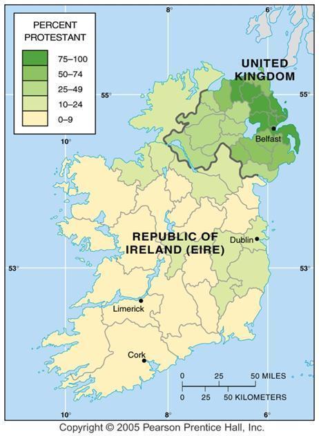 Christianity and Territory: Ireland English colony Independence in 1937 6 counties voted