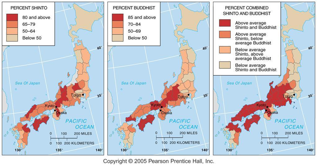 Shintoism and Buddhism in Japan Since Japanese can be both Shinto and Buddhist, there are
