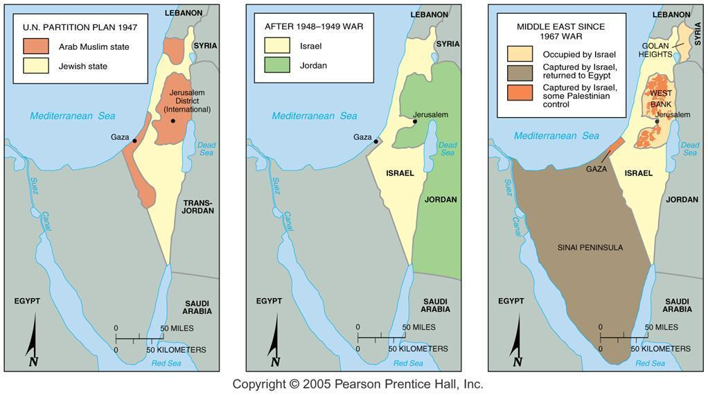 Boundary Changes in Palestine/Israel The UN partition plan for Palestine in 1947 contrasted with the