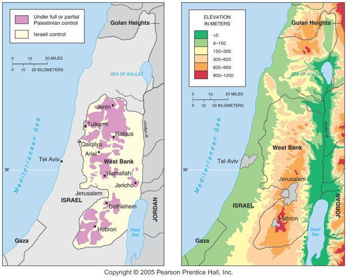 The West Bank: Political and Physical Geography Political control of the West Bank has been split between Palestinians