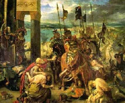 The Fall of Constantinople in 1204, the Crusaders attacked, conquered, and pillaged