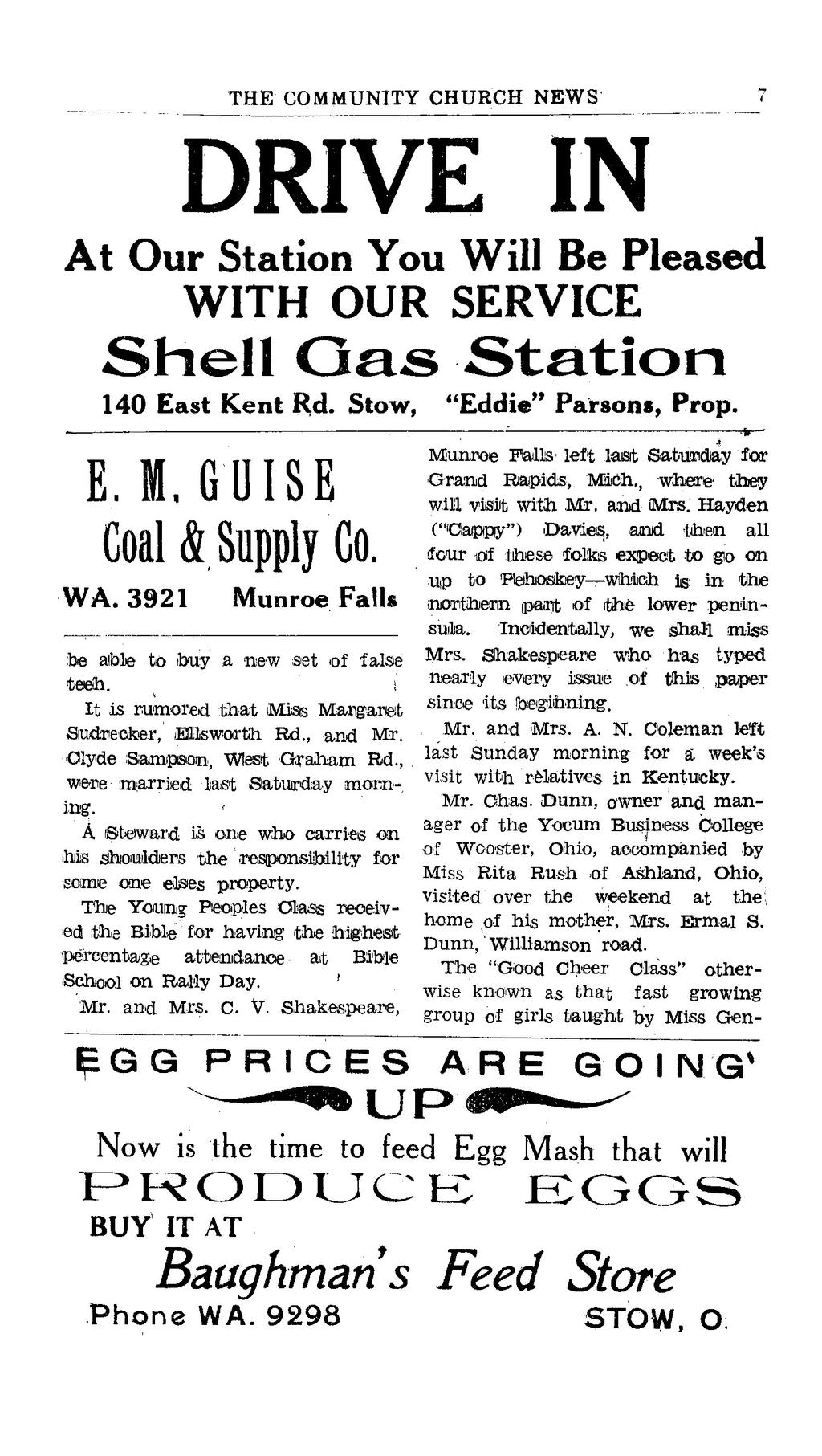 "DRIVE IN At Our Station You Will Be Pleased WITH OUR SERVICE Shell Gas Station 140 East Kent Rd. Stow, ""Eddie"" Parsons, Prop. E. M, GUISE Coal & Supply Co. WA."