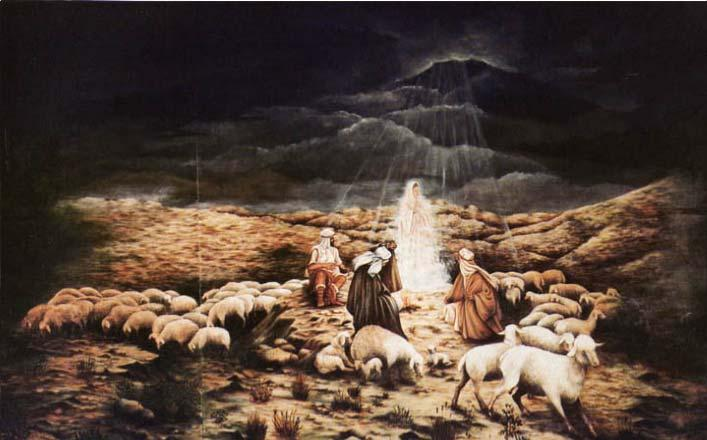 While shepherds kept their watch O er silent flocks by night, Behold throughout the heavens, There shone a holy