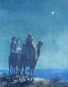 The Wise Men saw a bright star moving toward Jerusalem.